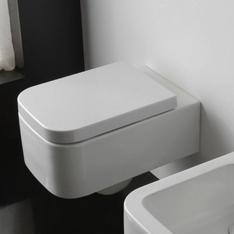 Nameeks Scarabeo Next Standard Height White Wall-Hung Elongated Toilet Bowl