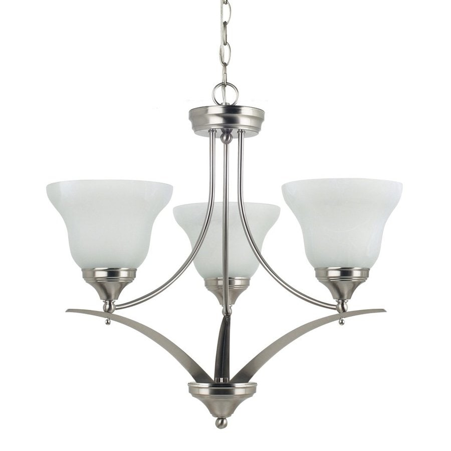 Sea Gull Lighting Brockton 23.25-in 3-Light Brushed Nickel Alabaster Glass Shaded Chandelier