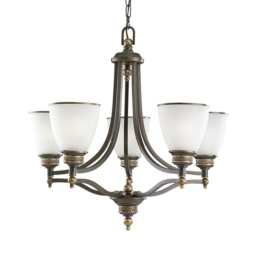 Sea Gull Lighting Laurel Leaf 24.75-in 5-Light Estate Bronze Country Cottage Etched Glass Shaded Chandelier