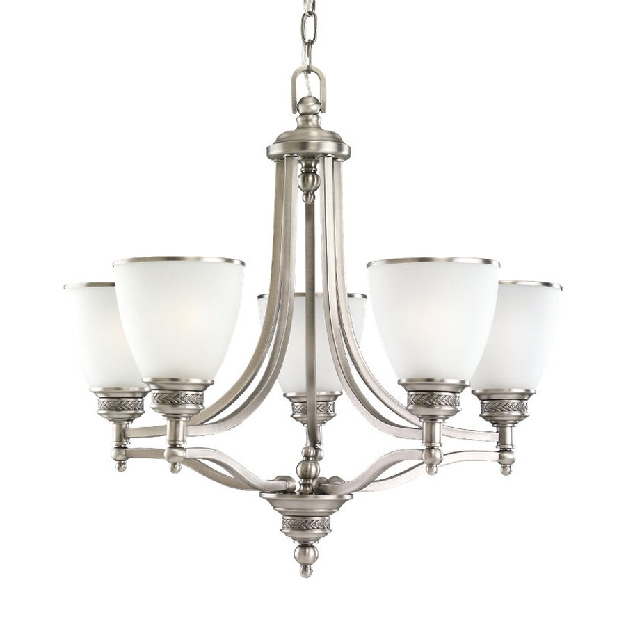 Sea Gull Lighting Laurel Leaf 24.75-in 5-Light Antique Brushed Nickel Country Cottage Etched Glass Shaded Chandelier