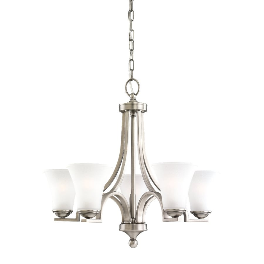 Sea Gull Lighting Somerton 24.75-in 5-Light Antique Brushed Nickel Etched Glass Shaded Chandelier
