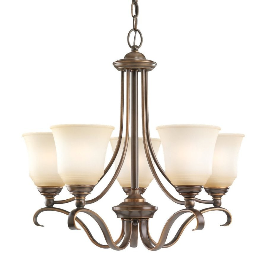 Sea Gull Lighting Parkview 24-in 5-Light Russet Bronze Country Cottage Tinted Glass Shaded Chandelier
