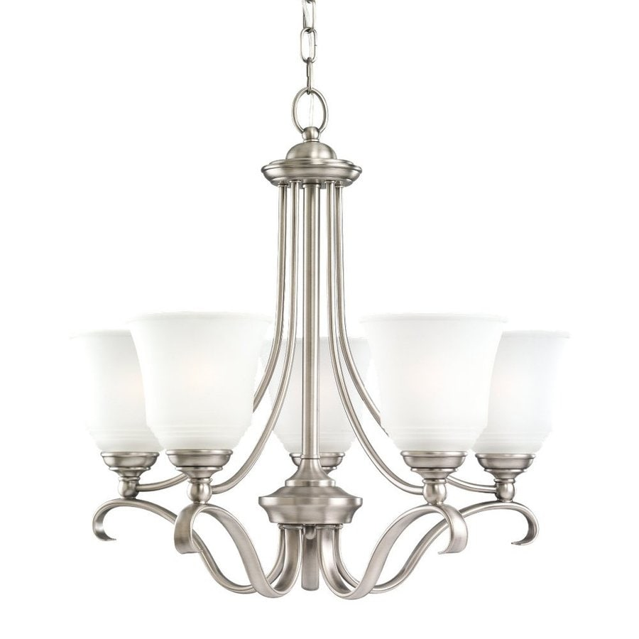 Sea Gull Lighting Parkview 24-in 5-Light Antique Brushed Nickel Country Cottage Etched Glass Shaded Chandelier