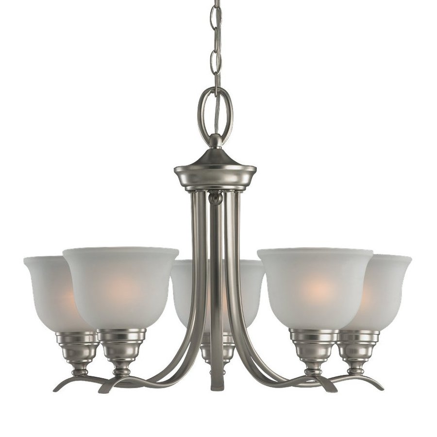 Sea Gull Lighting Wheaton 24-in 5-Light Brushed Nickel Country Cottage Etched Glass Shaded Chandelier