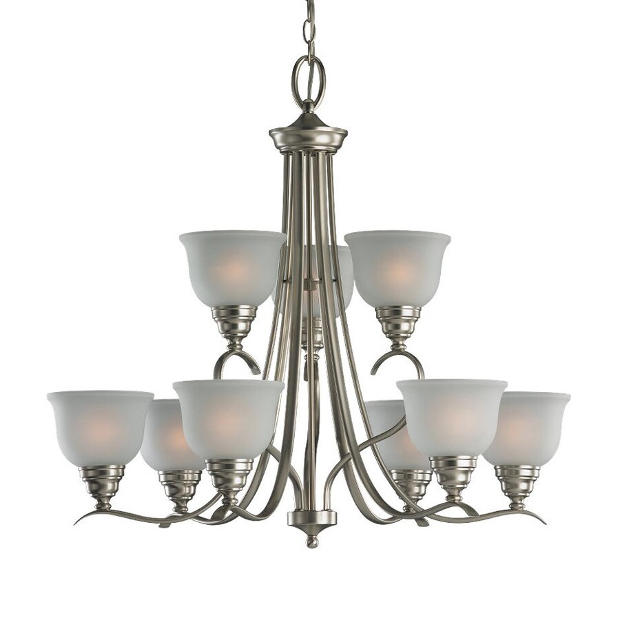 Sea Gull Lighting Wheaton 30.81-in 9-Light Brushed Nickel Country Cottage Etched Glass Tiered Chandelier