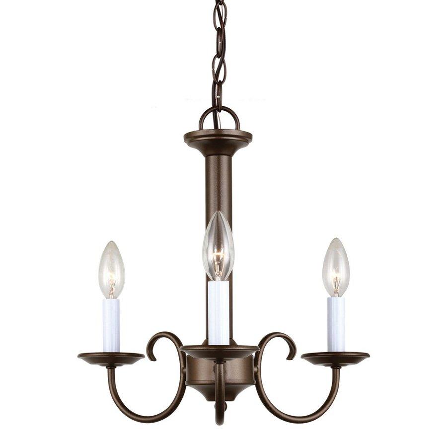 Sea Gull Lighting Holman 16-in 3-Light Bell Metal Bronze Vintage Candle Chandelier