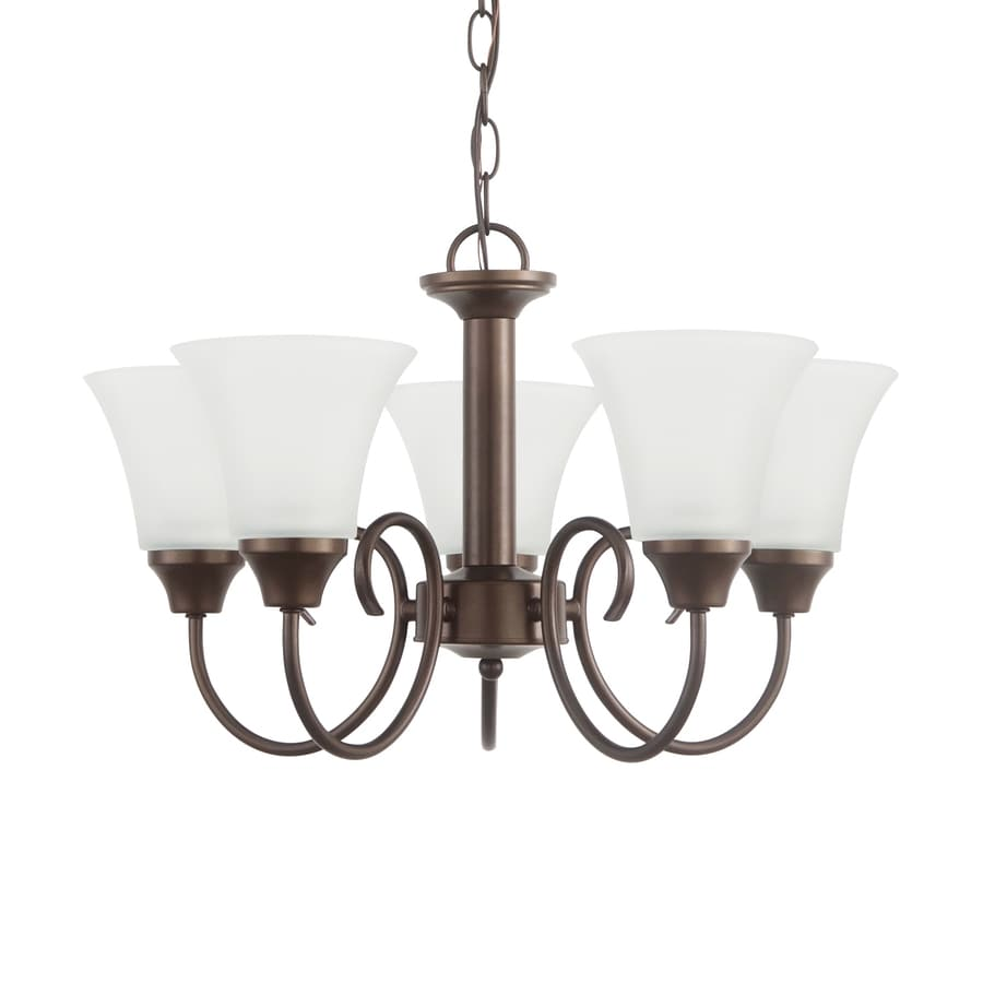Sea Gull Lighting Holman 20-in 5-Light Bell Metal Bronze Country Cottage Etched Glass Shaded Chandelier