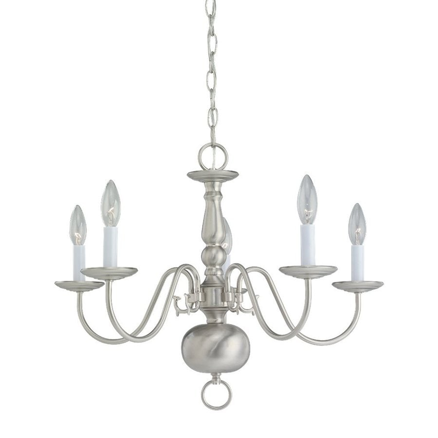 Sea Gull Lighting Traditional 23.5-in 5-Light Brushed Nickel Vintage Candle Chandelier