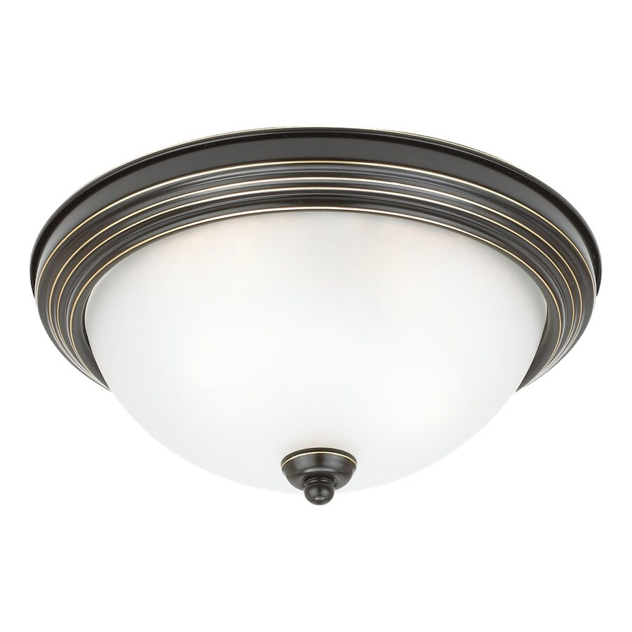 Sea Gull Lighting Ceiling Flush Mount 12.5-in W Heirloom Bronze Ceiling Flush Mount Light