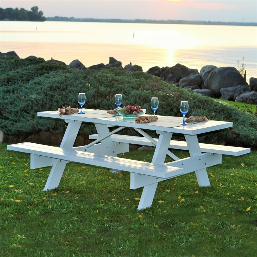 Shop Dura-Trel 6-ft White Rectangle Picnic Table At Lowes.com