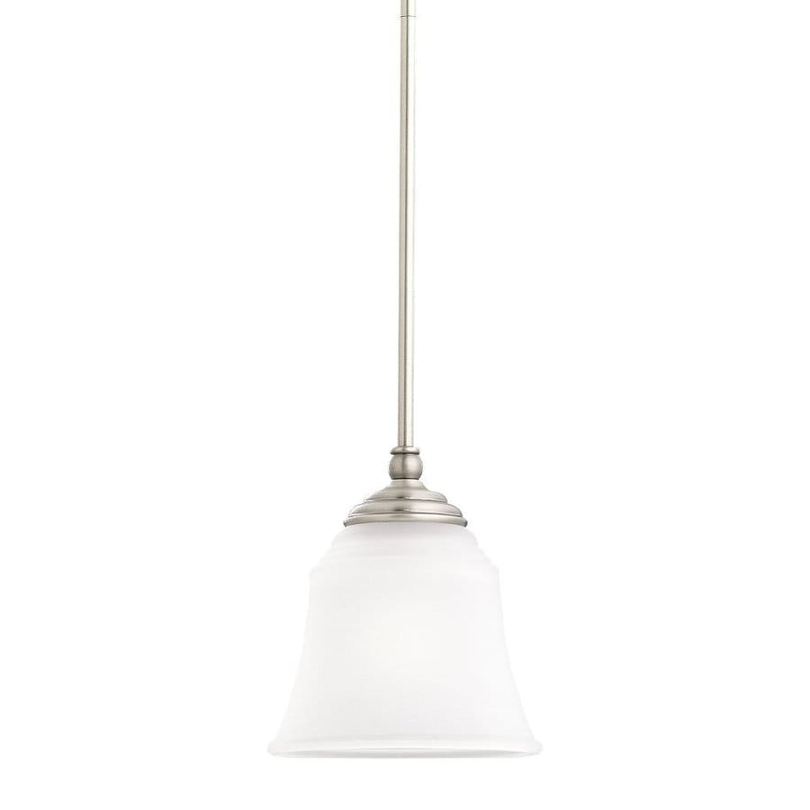 Sea Gull Lighting Parkview 7.5-in Antique Brushed Nickel Vintage Mini Etched Glass Bell Pendant