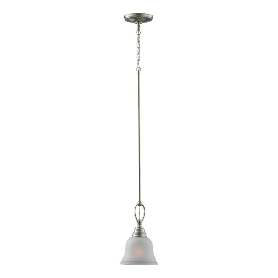 Sea Gull Lighting Wheaton 7-in Brushed Nickel Mini Etched Glass Bell Pendant