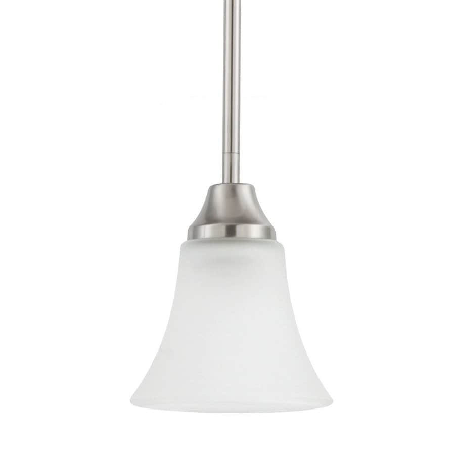 Sea Gull Lighting Holman 5.25-in Brushed Nickel Mini Etched Glass Bell Pendant