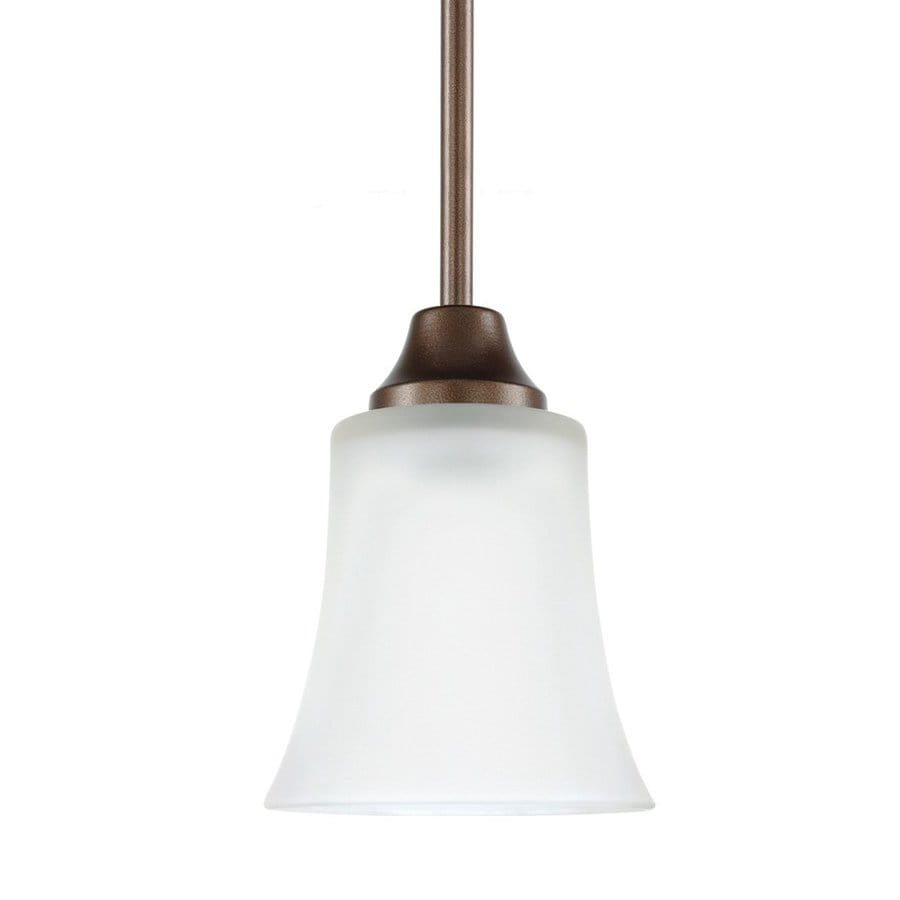 Sea Gull Lighting Holman 5-in Bell Metal Bronze Mini Etched Glass Bell Pendant