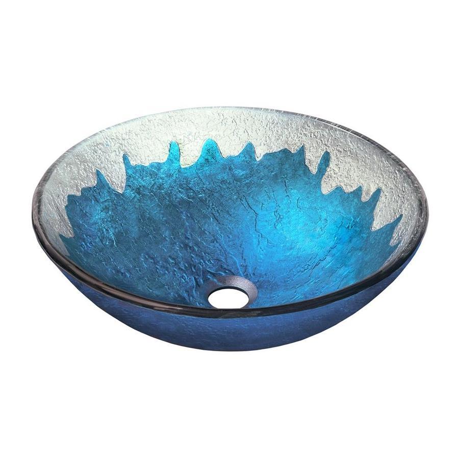 Novatto Diaccio Blue/Silver Tempered Glass Vessel Round Bathroom Sink