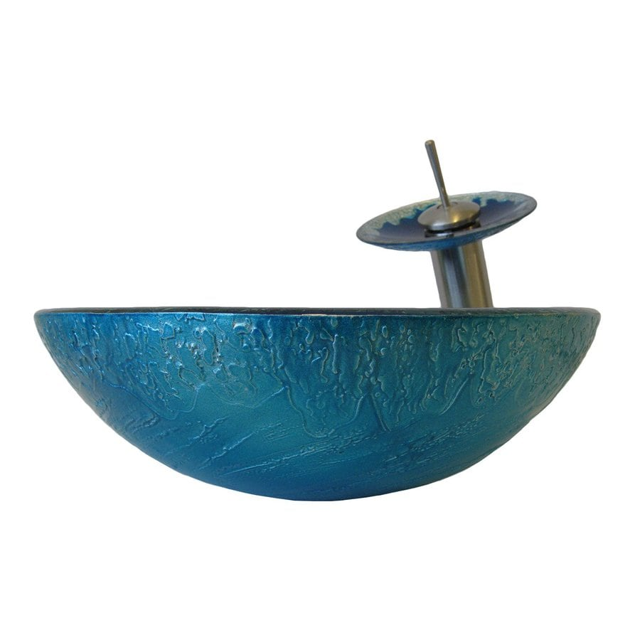 Tempered Glass Vessel Sink : Novatto Diaccio Blue/Silver Tempered Glass Vessel Round Bathroom Sink ...