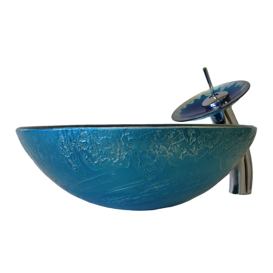 Novatto Diaccio Blue/Silver Tempered Glass Vessel Round Bathroom Sink with Faucet (Drain Included)