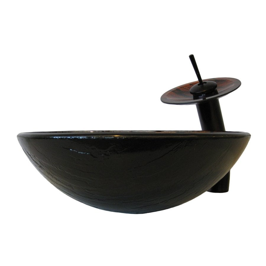 Shop Novatto Mimetica Brown Green Tempered Glass Vessel Round Bathroom Sink With Faucet Drain