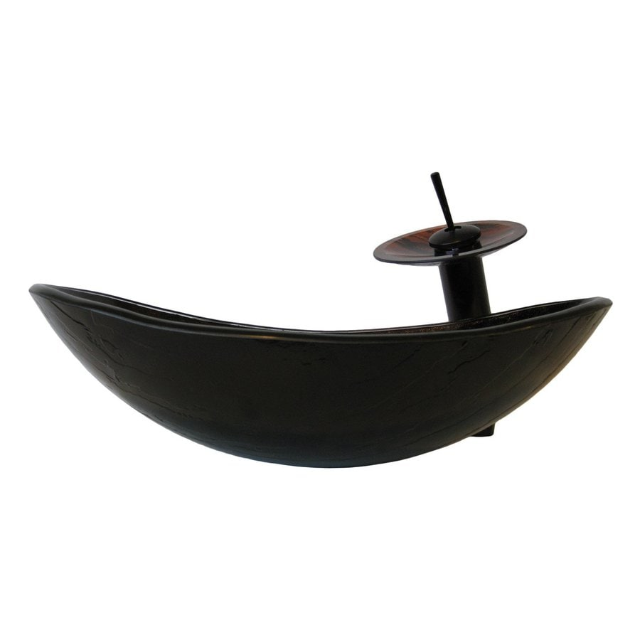 Novatto Slipper Brown/Green Tempered Glass Vessel Oval Bathroom Sink ...