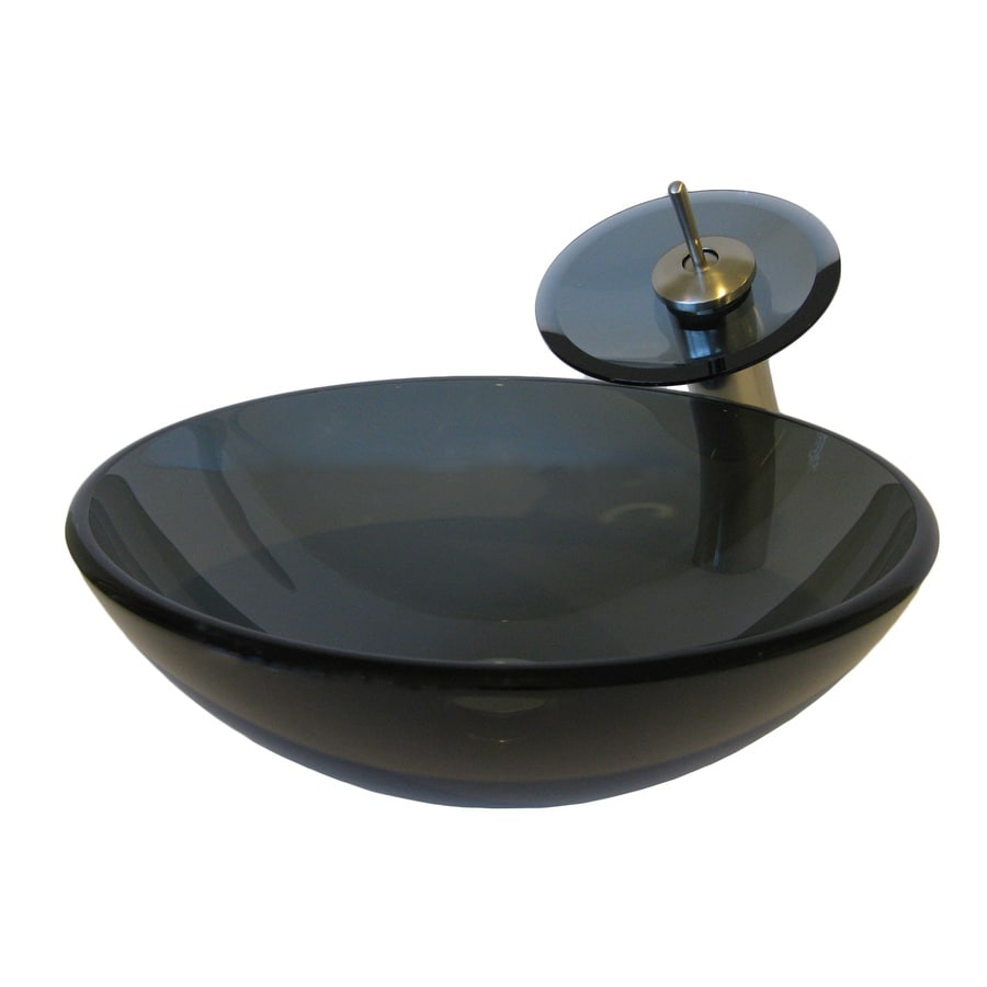 Tempered Glass Vessel Sink : Novatto Nera Clear Gray Tempered Glass Vessel Round Bathroom Sink with ...