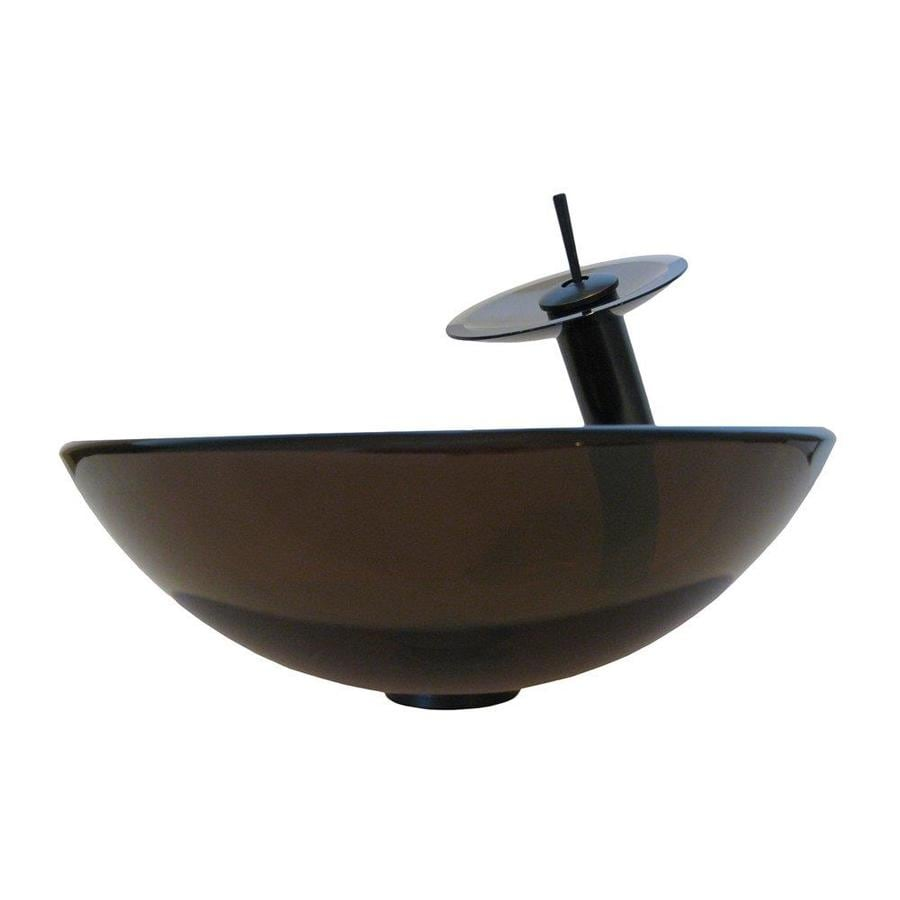 Novatto Ty Clear Brown Tempered Glass Vessel Round Bathroom Sink with Faucet (Drain Included)