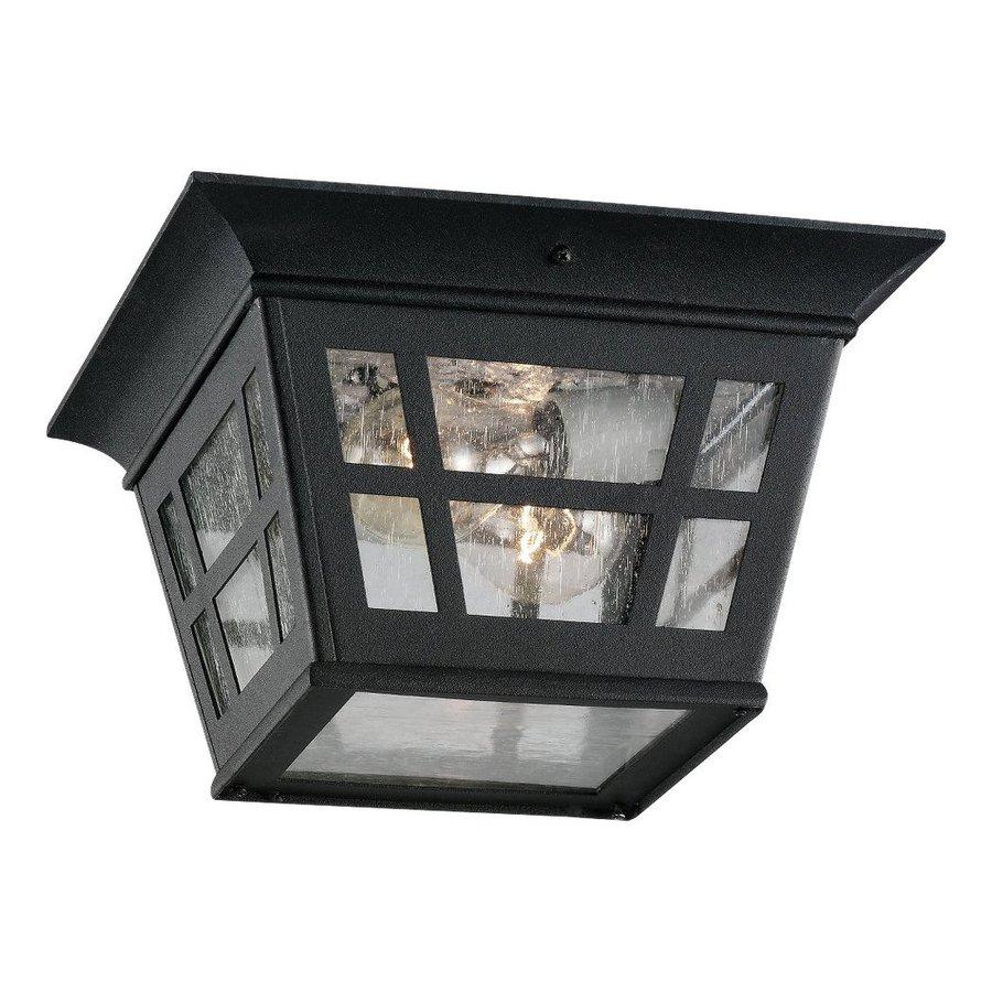 Sea Gull Lighting Herrington 10.75-in W Black Outdoor Flush-Mount Light