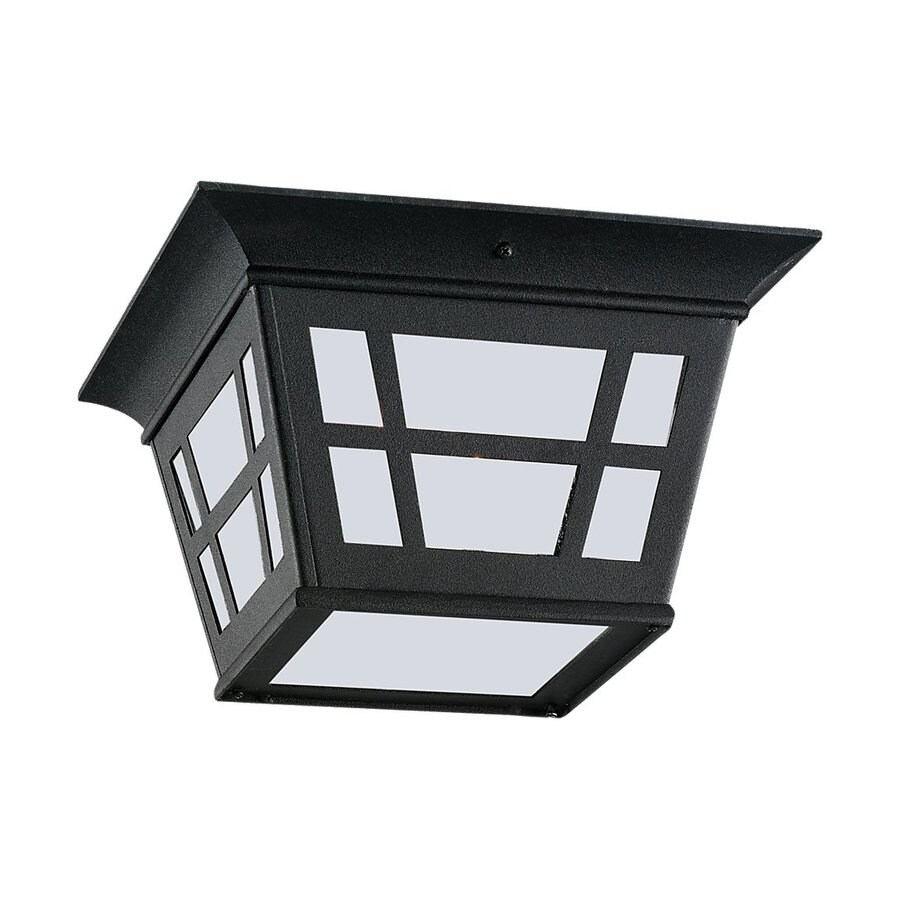 Sea Gull Lighting Herrington 10.75-in W Black Outdoor Flush-Mount Light ENERGY STAR