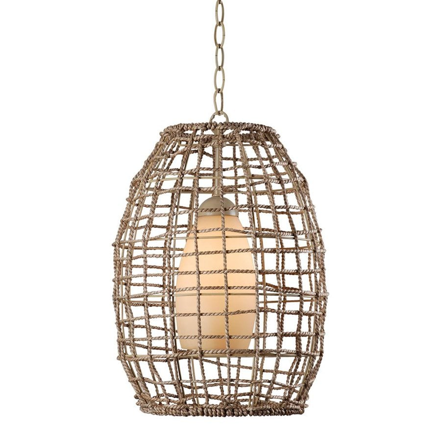 Kenroy Home Seagrass 12-in Tan Coastal Single Tinted Glass Cage Pendant