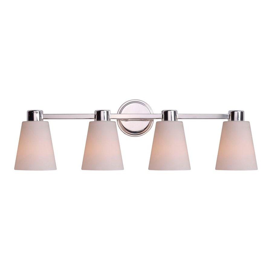 Kenroy Home 4-Light Scarsdale Satin Opal/Polished Nickel Bathroom Vanity Light