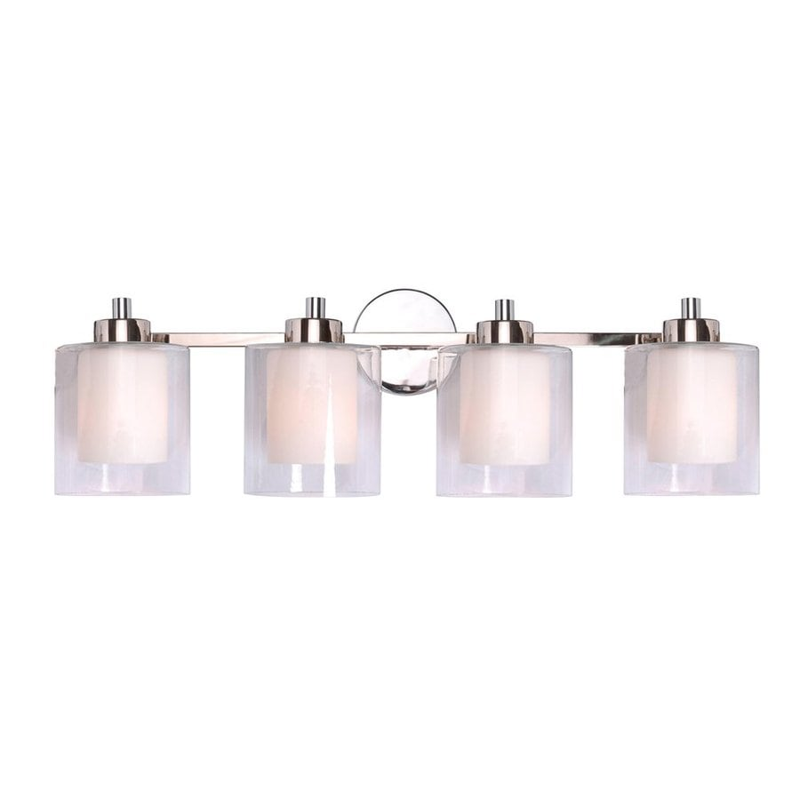 Vanity Lights Polished Nickel : Shop Kenroy Home 4-Light Orienta White Opal/Polished Nickel Bathroom Vanity Light at Lowes.com