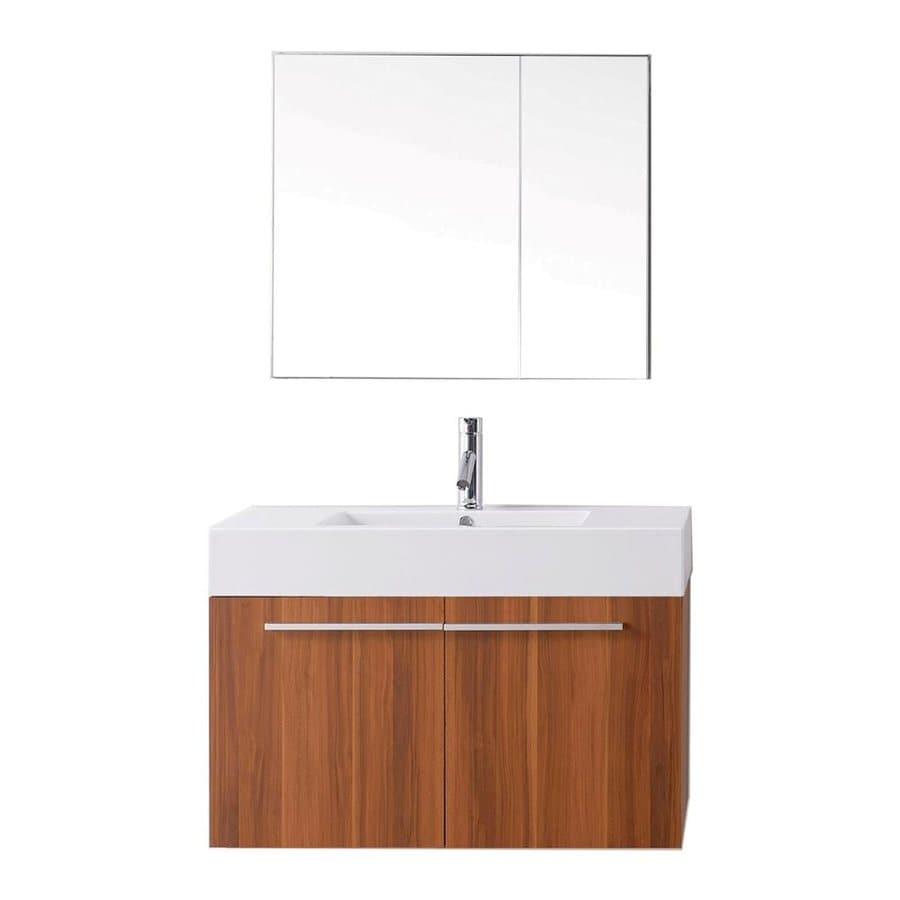 Virtu USA Midori Plum Integral Single Sink Bathroom Vanity with Polymarble Top (Faucet and Mirror Included) (Common: 35-in x 19-in; Actual: 35.2-in x 18.5-in)