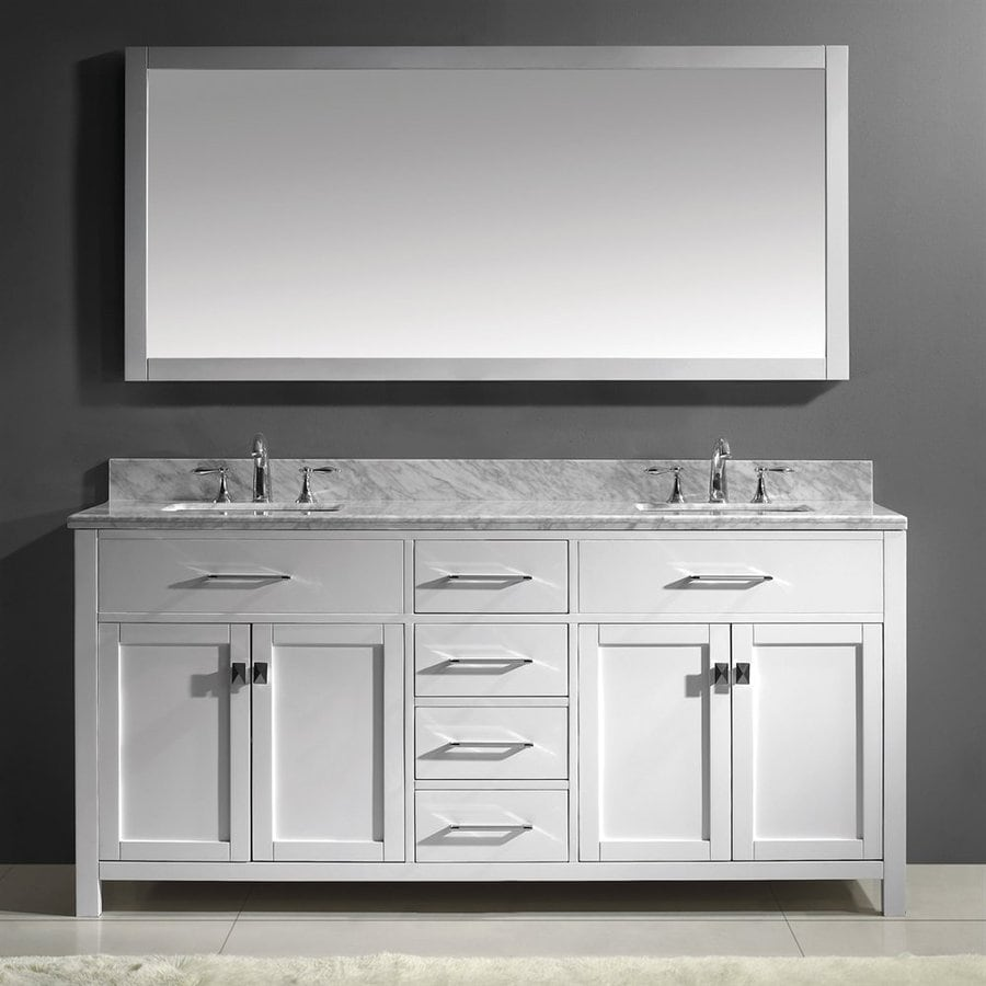 Virtu USA Caroline White Undermount Double Sink Oak Bathroom Vanity with Natural Marble Top (Mirror Included) (Common: 72-in x 22-in; Actual: 71.9-in x 22.1-in)