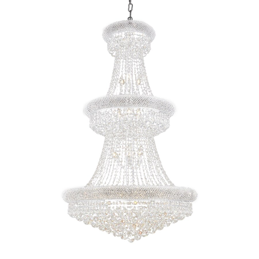 Elegant Lighting Primo 30-in 32-Light Chrome Crystal Crystal Empire Chandelier