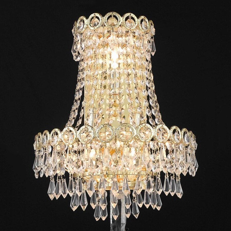 Elegant Lighting Century 12-in W 1-Light Gold Crystal Pocket Hardwired Wall Sconce