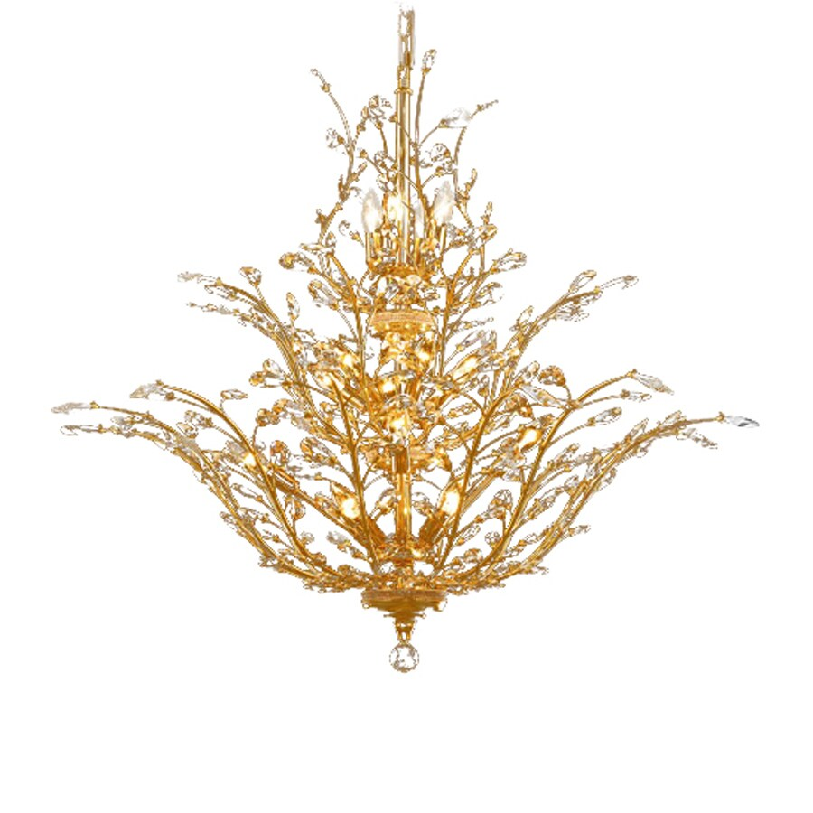 Elegant Lighting Orchid 41-in 18-Light Gold Crystal Crystal Abstract Chandelier