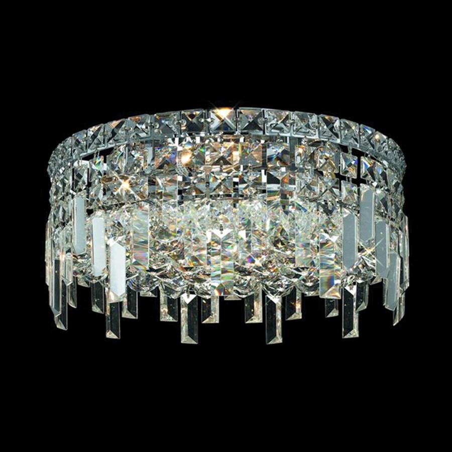 Shop elegant lighting maxim 16 in w chrome crystal ceiling for Crystal ceiling lights flush mount