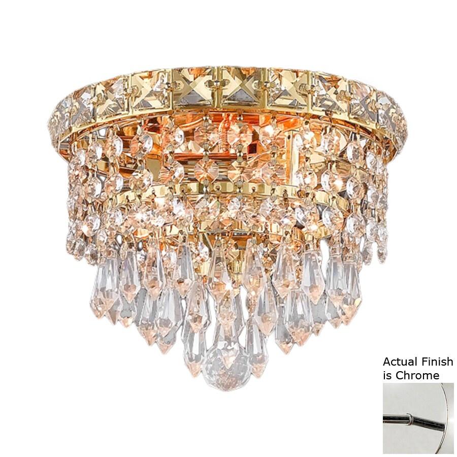 Elegant Lighting Tranquil 8-in W Chrome Crystal Ceiling Flush Mount Light