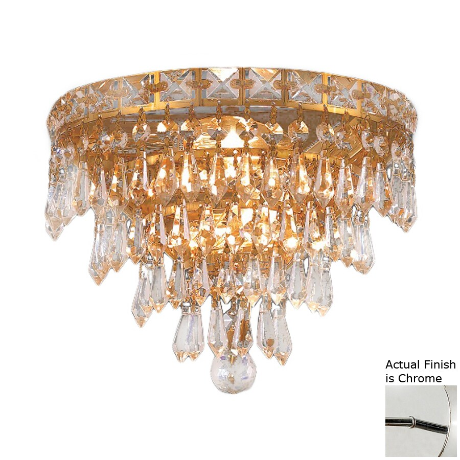 Elegant Lighting Tranquil 12-in W 1-Light Chrome Crystal Pocket Hardwired Wall Sconce