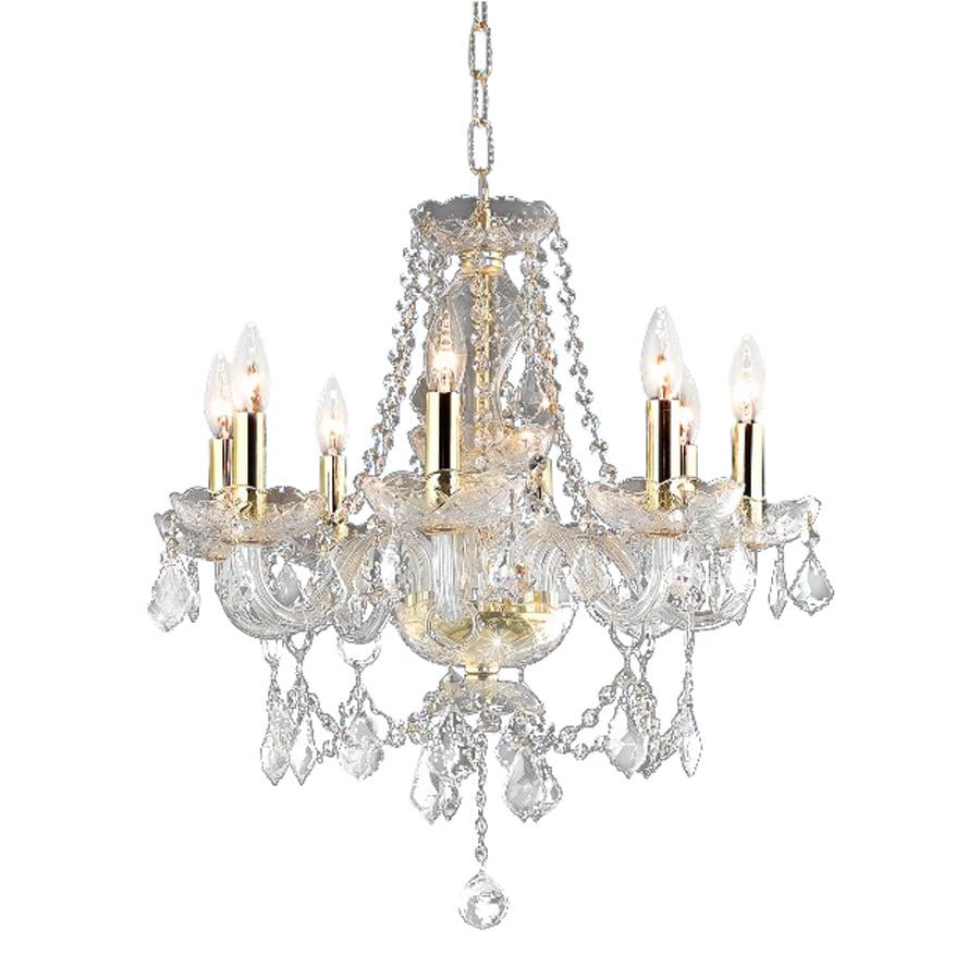 Elegant Lighting Princeton 20-in 8-Light Gold Crystal Crystal Candle Chandelier