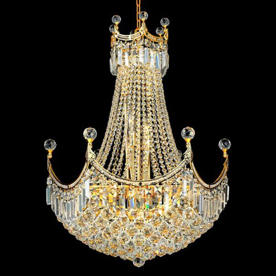 Elegant Lighting Corona 24-in 18-Light Chrome Crystal Crystal Empire Chandelier
