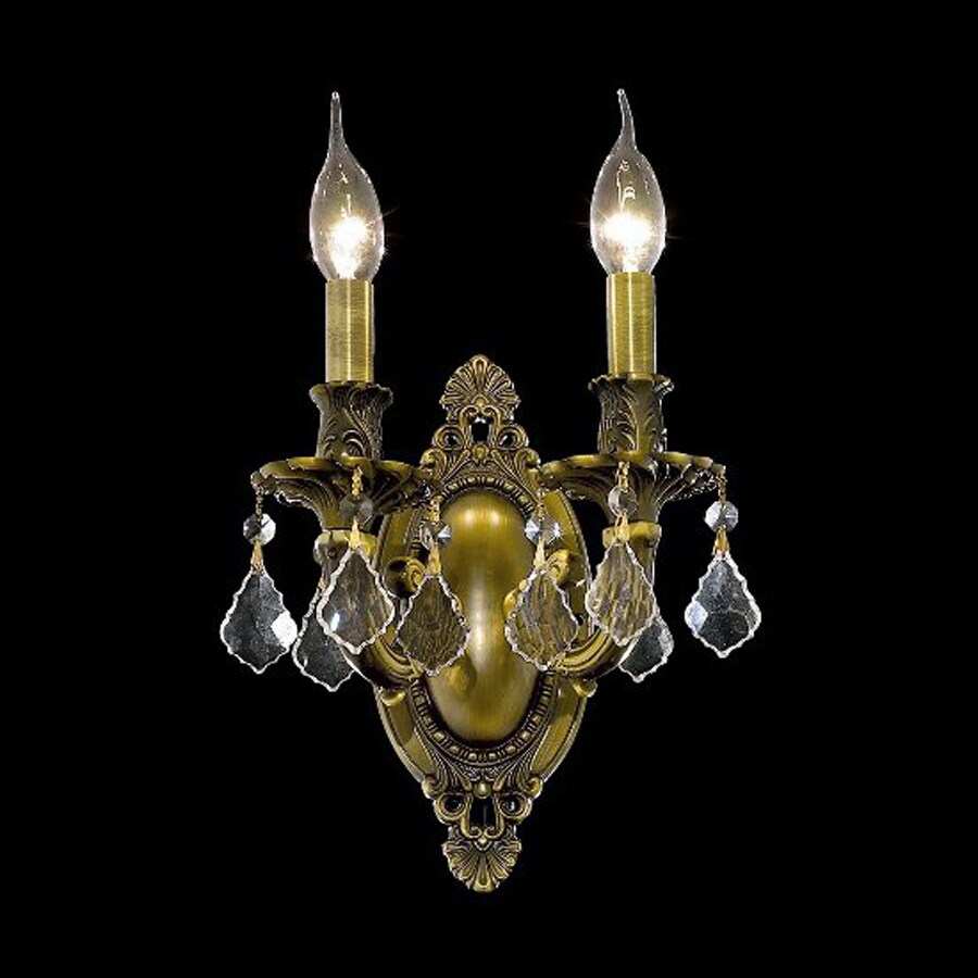 Elegant Lighting Rosalia 9-in W 2-Light French Gold Crystal Accent Candle Hardwired Wall Sconce