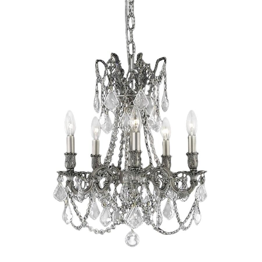 Shop Elegant Lighting Rosalina  Light Pewter Crystal Crystal D D Chandelier At Lowes Com
