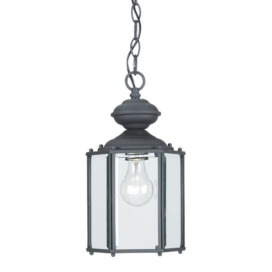Sea Gull Lighting Classico 12.5-in Black Outdoor Pendant Light
