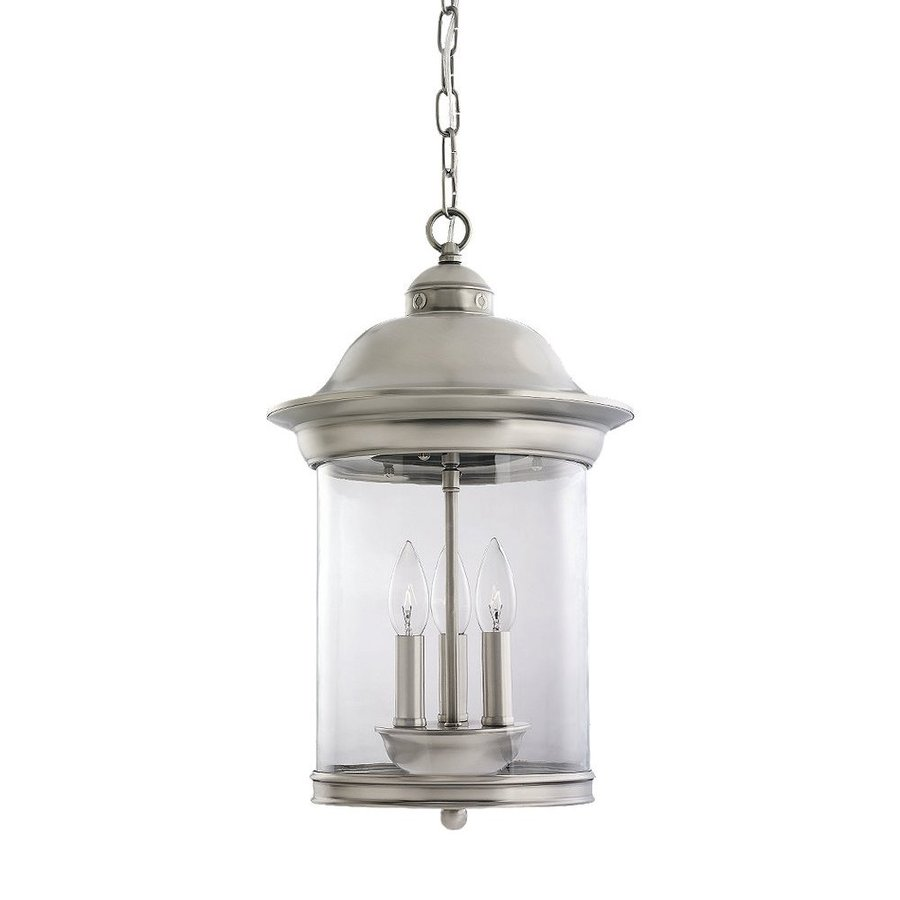 Sea Gull Lighting Hermitage 19-in Antique Brushed Nickel Outdoor Pendant Light