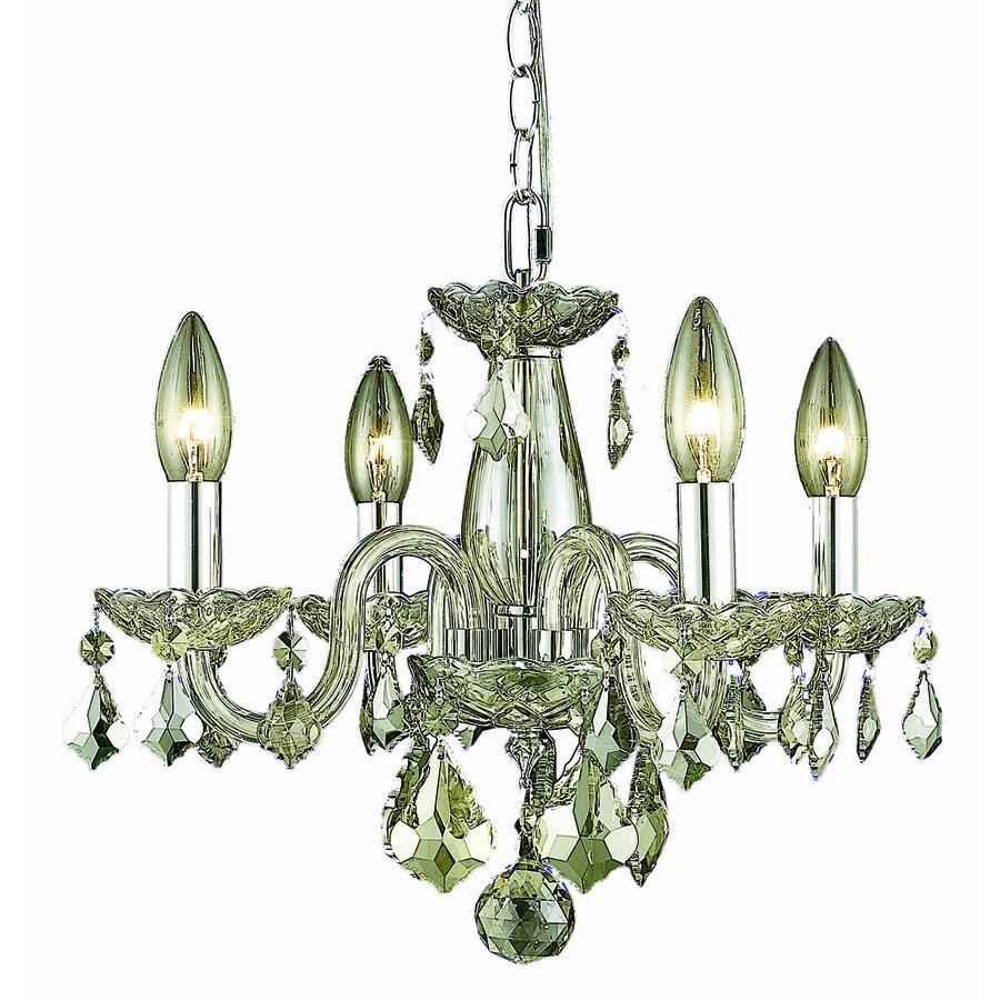 Elegant Lighting Rococo 15-in 4-Light Golden Shadow Crystal Crystal Candle Chandelier