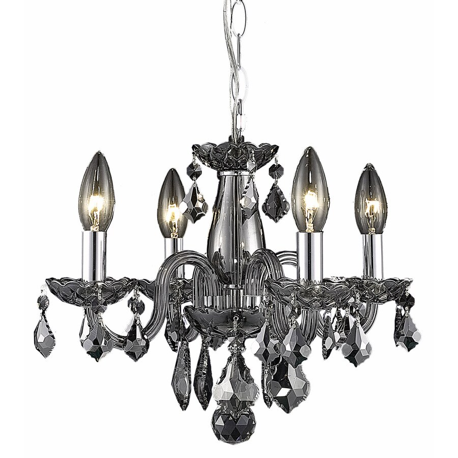 Elegant Lighting Rococo 15-in 4-Light Silver Shade Crystal Crystal Candle Chandelier