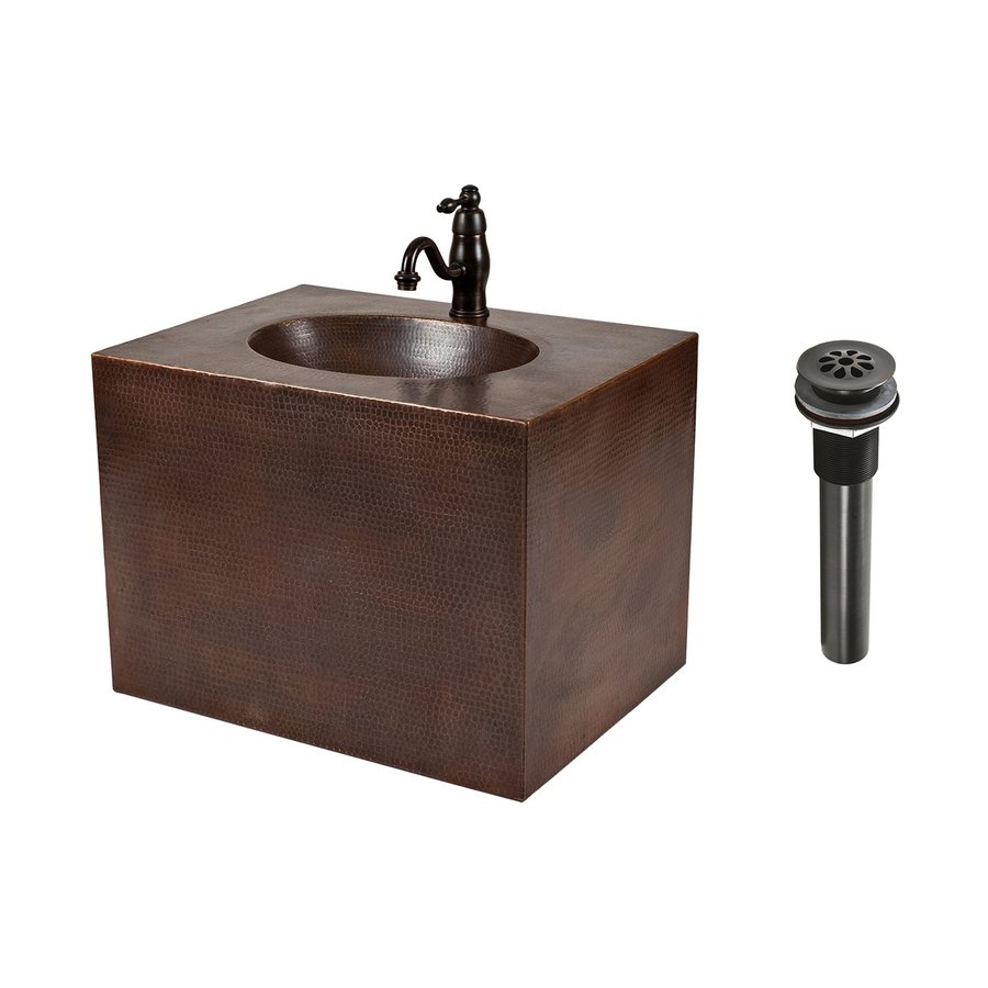 Premier Copper Products Oil Rubbed Bronze Integral Single Sink Bathroom Vanity with Solid Surface Top (Faucet Included) (Common: 24-in x 18-in; Actual: 24-in x 18-in)