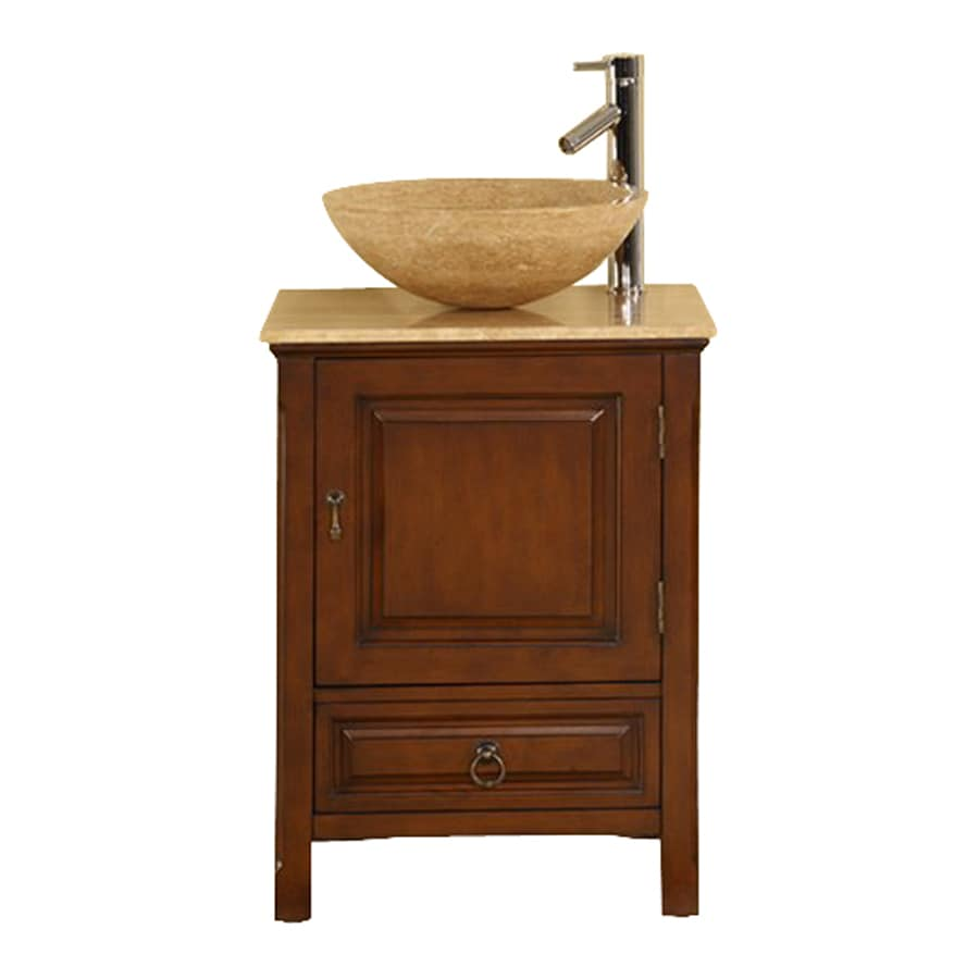 Silkroad Exclusive Osaka American Walnut Vessel Single Sink Bathroom Vanity with Travertine Top (Common: 22-in x 20-in; Actual: 22-in x 20-in)