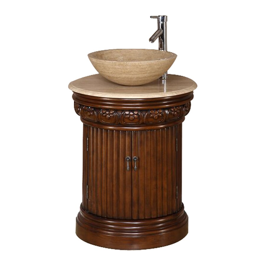 Silkroad Exclusive Maya English Chestnut Vessel Single Sink Bathroom Vanity with Travertine Top (Common: 24-in x 22-in; Actual: 24-in x 22-in)