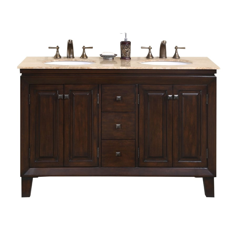 Silkroad exclusive jessica dark walnut undermount double sink bathroom